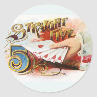 Vintage Cigar Label Art Straight Flush with Hearts Classic Round Sticker
