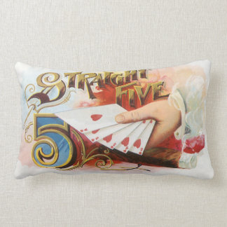 Vintage Cigar Label Art Straight Flush with Hearts Lumbar Pillow