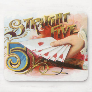 Vintage Cigar Label Art Straight Flush with Hearts Mouse Pad
