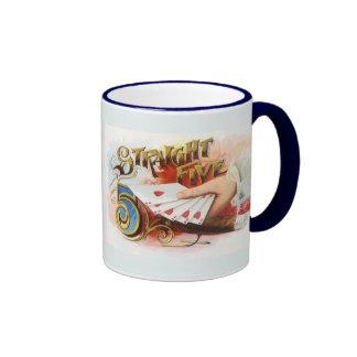 Vintage Cigar Label Art Straight Flush with Hearts Coffee Mug