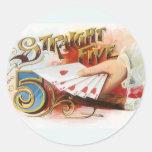 Vintage Cigar Label Art Straight Flush with Hearts Round Sticker