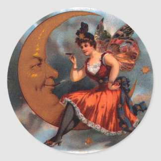 Vintage Cigar Label Art, Victorian Fairy on Moon