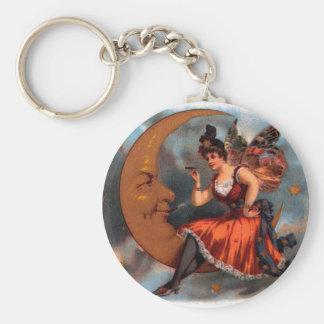 Vintage Cigar Label Art, Victorian Fairy on Moon Keychain