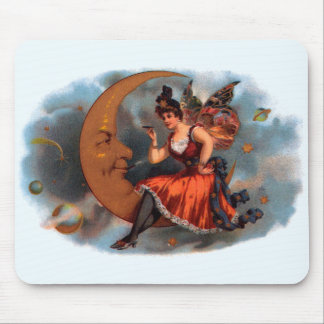 Vintage Cigar Label Art, Victorian Fairy on Moon Mouse Pad