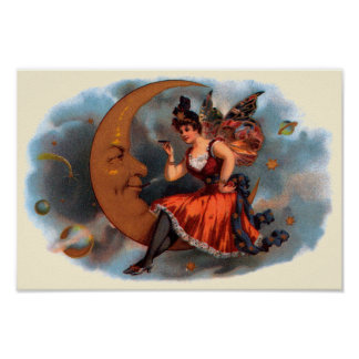 Vintage Cigar Label Art, Victorian Fairy on Moon Poster