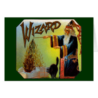 Vintage Cigar Label Art, Wizard with Black Cat Card