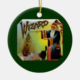 Vintage Cigar Label Art, Wizard with Black Cat Ceramic Ornament