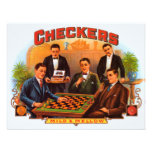 Vintage Cigar Label; Checkers Cigars Custom Announcements
