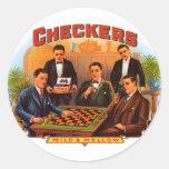 Vintage Cigar Label; Checkers Cigars Round Sticker