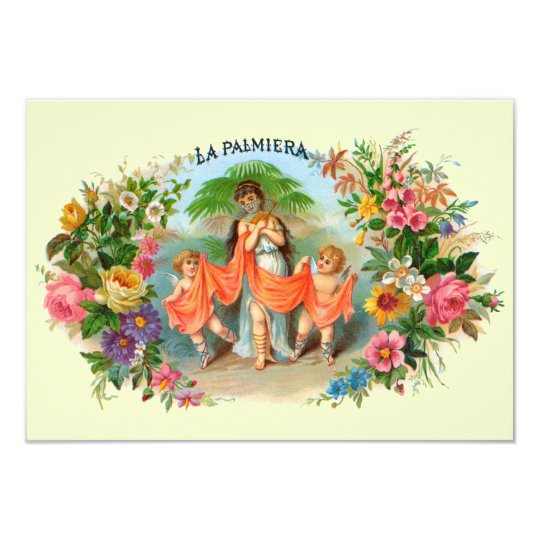 Vintage Cigar Label La Palmiera, Woman with Angels Card