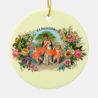 Vintage Cigar Label La Palmiera, Woman with Angels Ceramic Ornament