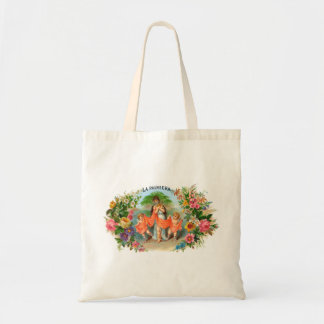 Vintage Cigar Label La Palmiera, Woman with Angels Tote Bag