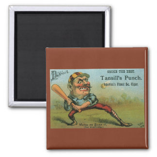 Vintage Cigar Label, Sports Baseball Tansill Punch 2 Inch Square Magnet