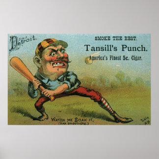 Vintage Cigar Label, Sports Baseball Tansill Punch Poster