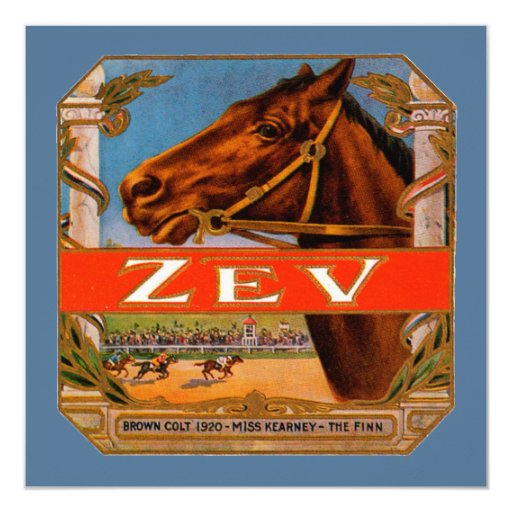 Vintage Cigar Label, Zev Cigars with Racing Horses Card