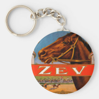 Vintage Cigar Label, Zev Cigars with Racing Horses Keychain