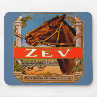 Vintage Cigar Label, Zev Cigars with Racing Horses Mouse Pad