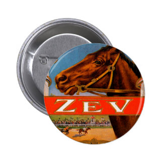 Vintage Cigar Label, Zev Cigars with Racing Horses Pinback Button