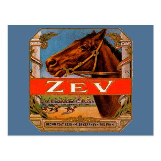 Vintage Cigar Label, Zev Cigars with Racing Horses Postcard