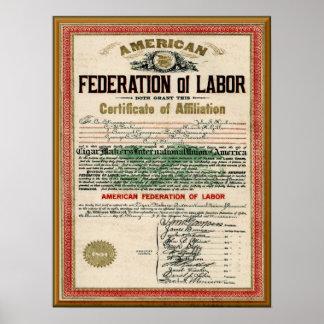 Vintage Cigar Makers  AFL Union Charter Poster