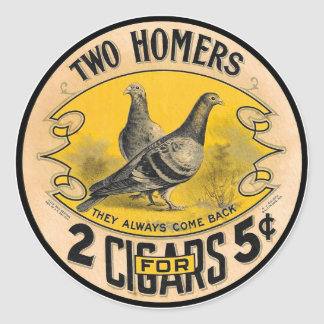 Vintage Cigars Two Homers for 5 Cents Label