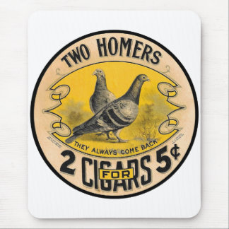 Vintage Cigars Two Homers for 5 Cents Label Mouse Pad