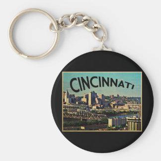 Vintage Cincinnati Skyline Keychain