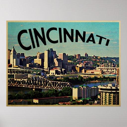 Vintage Cincinnati Skyline Poster