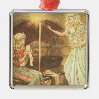 Vintage Cinderella and Fairy Godmother Christmas Tree Ornament