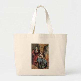 Vintage Cinderella and her Fairy Godmother Large Tote Bag