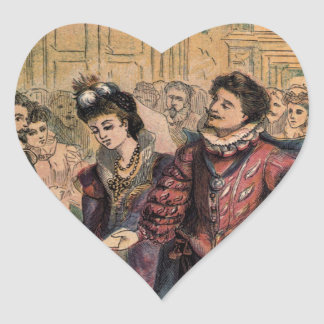 Vintage Cinderella and Prince at the Ball Heart Sticker