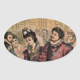 Vintage Cinderella and Prince at the Ball Oval Sticker