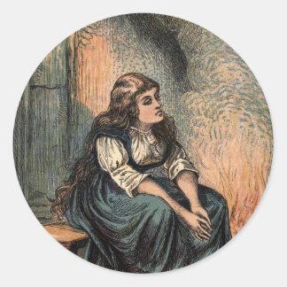 Vintage Cinderella Drawing Classic Round Sticker