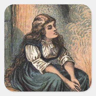 Vintage Cinderella Drawing Square Sticker