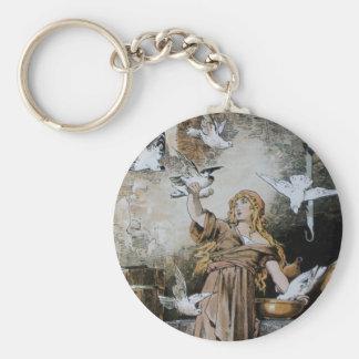 Vintage Cinderella Feeding Birds Keychain