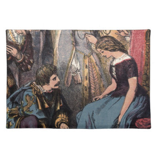 Vintage Cinderella Fitting the Glass Slipper Cloth Placemat