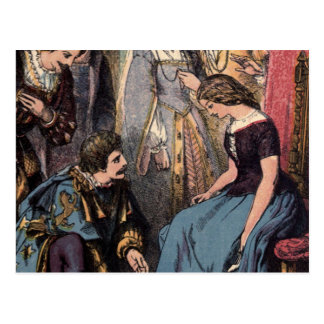 Vintage Cinderella Fitting the Glass Slipper Postcard