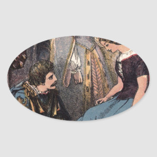 Vintage Cinderella Fitting the Glass Slipper Oval Sticker