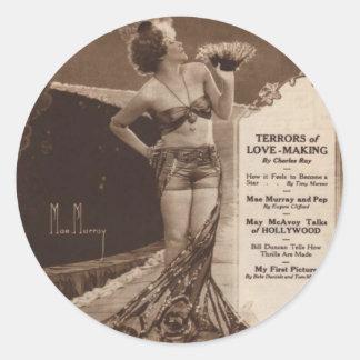 Vintage Cinema Mae Murray Round Sticker