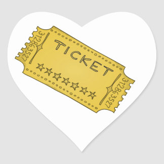 Vintage Cinema Ticket Heart Sticker