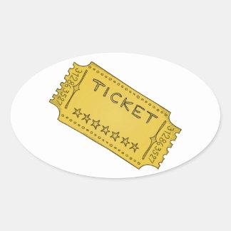 Vintage Cinema Ticket Oval Sticker