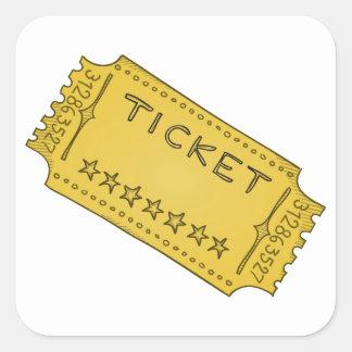 Vintage Cinema Ticket Square Sticker