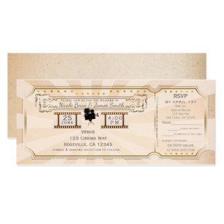 Vintage Cinema Wedding Ticket Invitation & rsvp