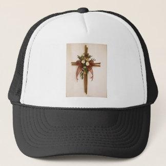 Vintage, Cinnamon and Rose Cross Trucker Hat