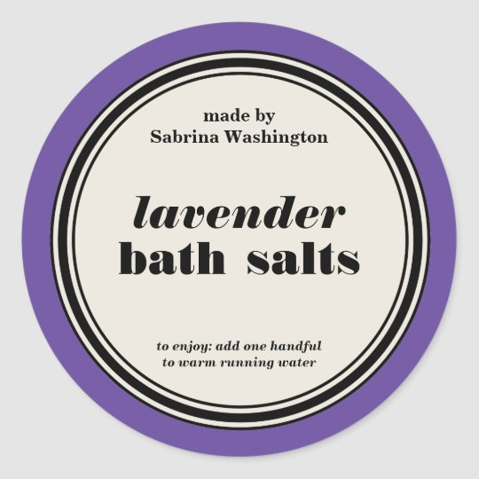 Vintage Circle Frame Bath Salts Label Template Classic Round Sticker