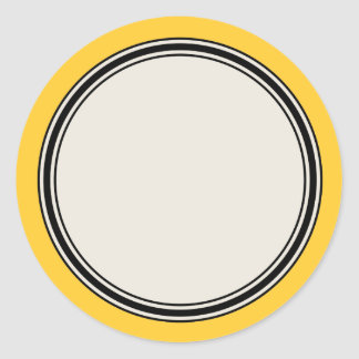 Vintage Circle Label Template, Yellow Classic Round Sticker