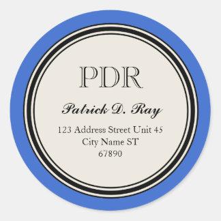 Vintage Circle Return Address Label, Blue Classic Round Sticker