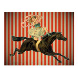 vintage circus acrobat riding a horse postcard