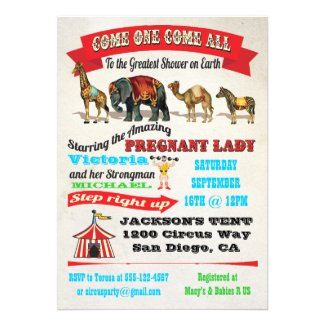 Vintage Circus Animals Baby Shower Invitations