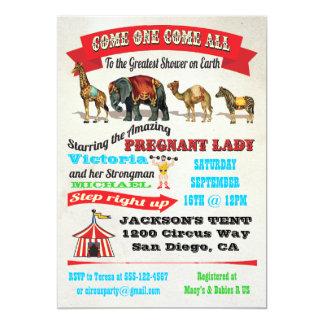 Vintage Circus Animals Baby Shower Invitations